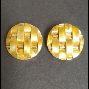 Vintage Basket Weave Gold Acrylic Button Earrings